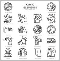 Covid concept icon set outline style. vector