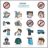 Covid concept icon set flat style. vector