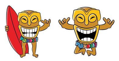 Tiki Happy Surfing Day Cartoon Character vector