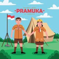 Pramuka Day Cartoon Character vector