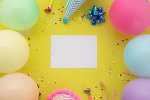 Happy birthday background, Flat lay colorful party decoration photo