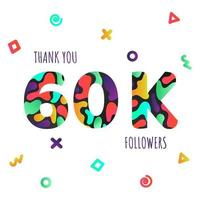 Thank you 60000 followers numbers postcard. vector