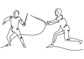 Continuous one line drawing of two man fencing athletes vector