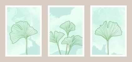 Natural abstract botanical art set with watercolor background vector