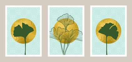 Natural abstract botanical art set with gold foil element vector