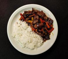 Traditional fresh Asian curry with meat photo