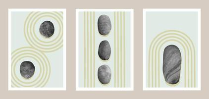 Natural abstract Japanese stone garden art set vector