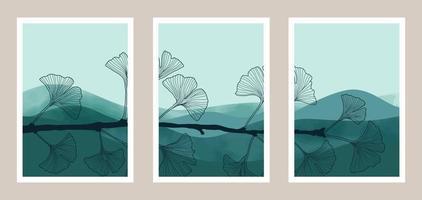 Natural abstract botanical art set with watercolor elemens vector