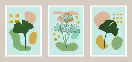 Natural abstract botanical art set with gold foil elements vector