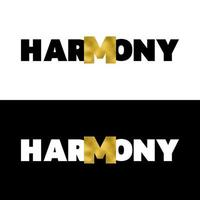Harmony t shirt print with gold foil set vector