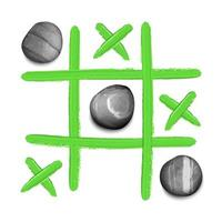 Tic tac toe game with stones and oil paint strokes t shirt print vector
