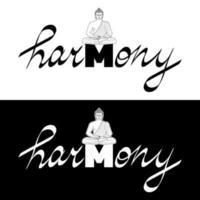 camiseta de armonía estampada con buda y conjunto de letras dibujadas a mano vector