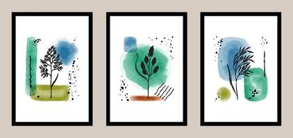 Natural abstract botanical art set with watercolor elements vector