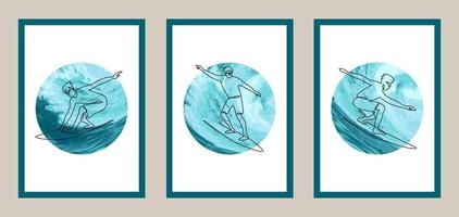 Surfing lineart set with watercolor elements. Vector illustration