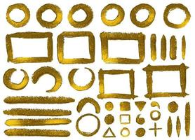 Set of hand drawn gold glitter paint frames and elements vector