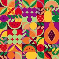 Vintage retro fruit abstract vector seamless pattern.