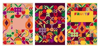 Vintage retro nature abstract vector covers set.