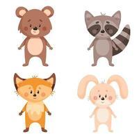 Set of forest animal. Raccoon, fox, rabbit, bear vector