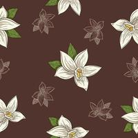 Hand Drawn Vanilla Flowers in Vintage Style Seamless Pattern vector