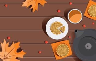Mid Autumn Mooncake Background vector