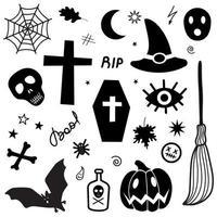 Creative black Halloween traditional spooky items vector