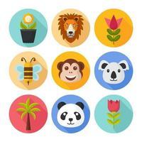 conjunto de iconos de flora y fauna de la naturaleza vector