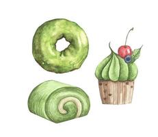 Set of Matcha desserts. Watercolor illustration. vector