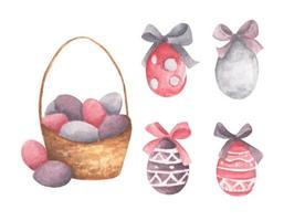 Basket with Easter eggs and bows. Watercolor illustration. vector