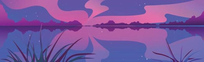 Panoramic evening landscape, wide river with reeds - Vector