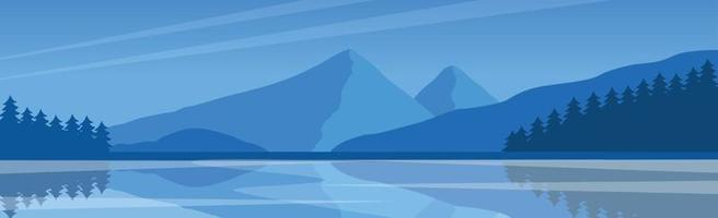 Panoramic mountain evening landscape vector