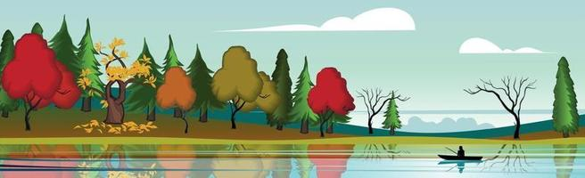 Panoramic landscape mountain lake, autumn bright forest - Vector