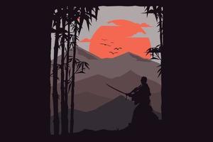 T-shirt nature bamboo mountain vector