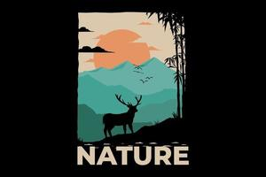 T-shirt nature deer mountain bomboo vector