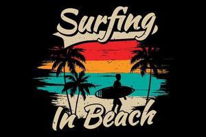 T-shirt surfing beach palm color vintage retro flat illustration vector