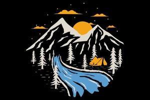T-shirt outdoors adventure nature pine mountain vector