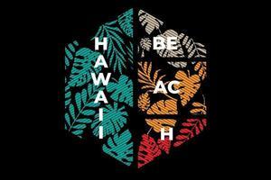 camiseta hoja playa hawaii retro vintage línea ilustración vector