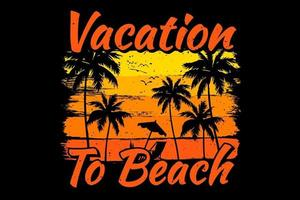 T-shirt vacation beach palm tree sunset vector