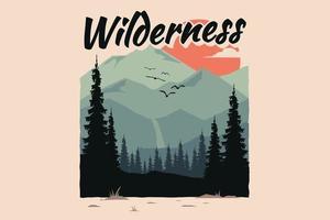 T-shirt wilderness pine mountain flat nature vector