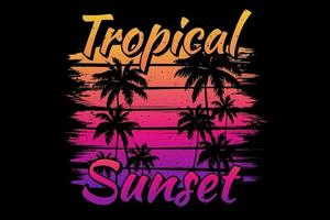 T-shirt tropical sunset beach palm brush vector