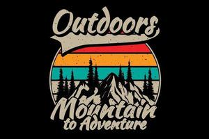 T-shirt outdoors mountain adventure vector