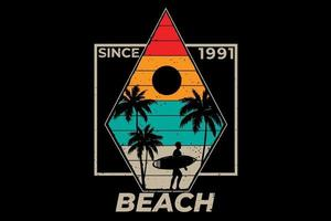 T-shirt beach surf palm tree retro vintage illustration vector