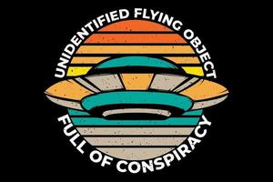 T-shirt full conspiracy flying object vector