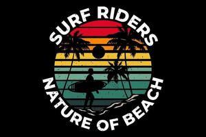 T-shirt surfing rides nature beach palm vector