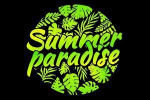 T-shirt summer paradise leaf green gradient vector
