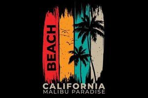 T-shirt beach california paradise palm vector