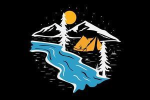 T-shirt camping pine river adventure vector