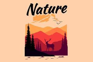 T-shirt design of nature mountain deer summer sunset vector