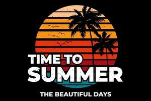 T-shirt summer time beautiful days beach vector