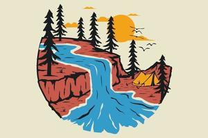 T-shirt nature pine tree adventure vector