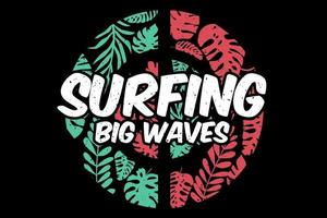 T-shirt surfing big waves leaf green red vector